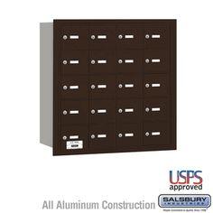 20 Door 4B  Horizontal Mailbox Bronze Rear Loading A Doors USPS Access
