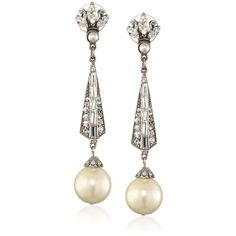 Ben-Amun Jewelry Crystal Deco and Pearl Drop Earrings