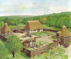 A Celtic Farmstead in Gaul by André Houot Fantasy City, Fantasy Map, Architecture Antique, Medieval Houses, Celtic Culture, Les Religions, Iron Age, Fortification, Prehistory