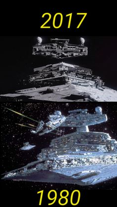 What happened?! It looked so much better in 1980! And 2017 has advanced CGI effects!!!! Star Warrs, Lego Star Wars, Star Wars Art, Star Trek, Star Wars Vehicles, Jedi Sith, Star Destroyer, Star Wars Ships, Star Wars Poster