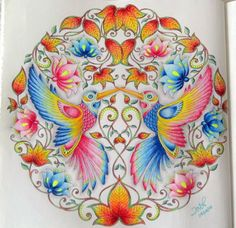 Inspirational coloring pages from Secret Garden, Enchanted Forest and other… Secret Garden Coloring Book, Lost Ocean, Johanna Basford Secret Garden, Relaxing Art, Johanna Basford Coloring Book, Doodle Coloring, Colouring Techniques, Polychromos, Color Pencil Art