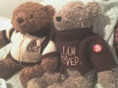 My Daddy gave me my first Teddy Bear as a young girl.  These are two that he gave each of us from Helzberg Diamonds with beautiful jewelry that said, I AM LOVED.  I love these and their company~