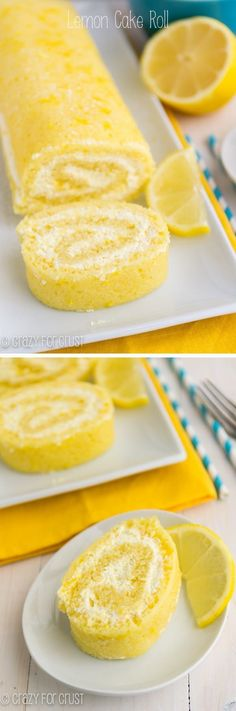 It's a lemon cake filled with lemon whipped cream. The perfect Lemon Cake Roll! It's a lemon cake filled with lemon whipped cream. The perfect Lemon Cake Roll! Lemon Desserts, Lemon Recipes, Just Desserts, Sweet Recipes, Baking Recipes, Cake Recipes, Dessert Recipes, Lemon Cakes, Coconut Cakes