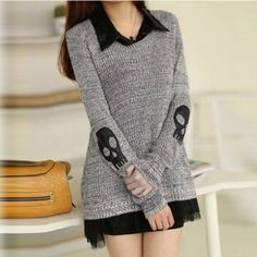 Casual Long Sleeve Skulls Pattern Pullover Sweater | Daisy Dress for Less | Women's Dresses & Accessories