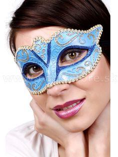 "Maska - Škraboška "" Colombina Fiona "" Venetian Mask, modrá"