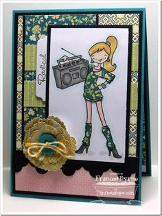 à la modes - 80's Girl, Mini Tabs Foursome Die-namics, Layered Rose Die-namics, Triple Scoop Border Die-namics - MFT Stamps created by Frances Byrne