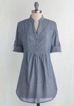 Back Road Ramble Tunic in Stream | Mod Retro Vintage Short Sleeve Shirts | ModCloth.com