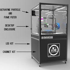 – Printer Enclosure and Filtration System – Components – Desktop Enclosure with Filtration Unit, Leg Kit and Cabinet Kit. 3d Printing Machine, 3d Printing Diy, 3d Printing Service, 3d Printer Projects, 3d Projects, Printer Cabinet, Hardware Components, Prusa I3, Ikea Lack