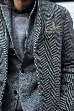 Wonderful layering of tweeds, down to the pocket square, in trending greys // #tweed #fashion #menswear