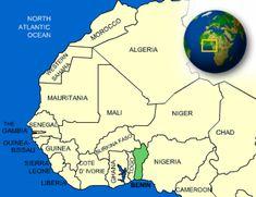 Benin in green.