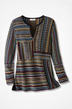 Artisan Patchwork Tunic, Black Multi
