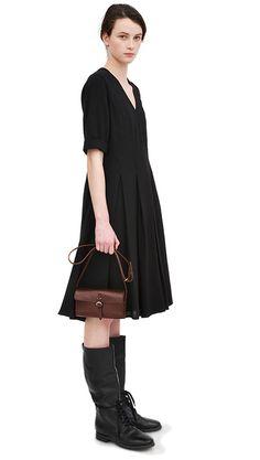 AW13 Black panelled dress, hazel bridle leather shoulder purse, black leather military boot
