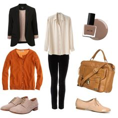 No bag, and love the oxfords! Fall outfit!!