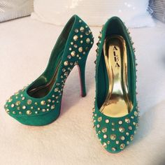 """Studded Turquoise/Green Heels!  Like brand new, worn only twice since I feel too tall in them. Heel approx: 6"""", platform approx: 1.75"""". Very unique & one of a kind. Quite heave but still comfy! . True to size. ALBA Shoes Platforms"""