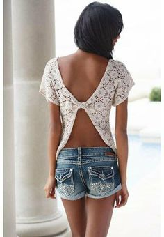 crochet open back top... pretty when you have a good tan.