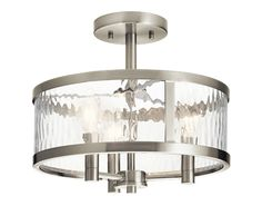 Kichler Marita Brushed Nickel Transitional Incandescent Semi-flush Mount Light at Lowe's. Create an upscale look with this brushed nickel finish semi flush mount fixture from the Marita collection. The clear wave glass provides ample Flush Mount Kitchen Lighting, Kitchen Lighting Fixtures, Ceiling Light Fixtures, Brushed Nickel Light Fixtures, Ceiling Lights For Kitchen, Coastal Light Fixtures, Semi Flush Ceiling Lights, Coastal Lighting, Home