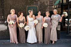 Taupe Sequin Bridesmaids Dresses | photography by http://www.bandgphotography.com
