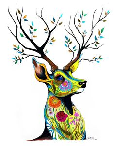 Art Print King of Forest by PixieColdArt on Etsy Psychedelic Art, Illustrations, Illustration Art, Deer Art, Happy Paintings, Sketch Painting, Watercolor Animals, Animal Skulls, Painting Patterns