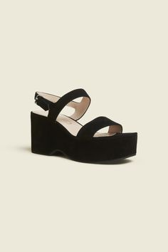 Elevate your shoe game with these easy to wear platform sandals. A wedge silhouette with a foundational shape and smooth edges for a casual, everyday style. Wear You Out, How To Wear, Marc Jacobs Shoes, Jacob Black, Your Shoes, Shoe Game, Wedge Sandals, Black Suede, Ankle Strap