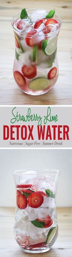Hydrate yourself with strawberry detox water. Use fresh strawberries, lime and mint to prepare this fruit infused water. via @watchwhatueat Infused Water Recipes, Fruit Infused Water, Infused Waters, Fruit Water, Flavored Waters, Diet Water, Cucumber Water, Smoothie Drinks, Detox Drinks