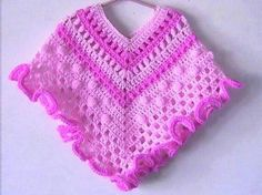 This is one of my original crochet patterns to make a cute Spring Poncho for a 2 to 6 year old - check finished measurements listed below to see how this will fit your child - as every child is different. Poncho Au Crochet, Crochet Poncho Patterns, Knit Crochet, Free Crochet, Knitting Patterns, Chunky Crochet, Shawl Patterns, Crochet Granny, Crochet Baby Clothes