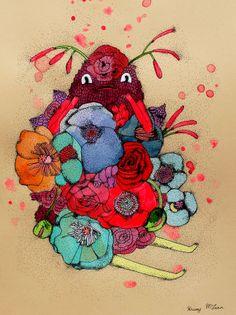 flower powers. original art on paper.