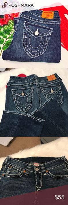 True Religion Joey Big T Great condition with minimal distress to ankles and fading from normal wear with twisted hem to legs.  15in waist, 8in rise and 31in inseam😍 True Religion Jeans Flare & Wide Leg