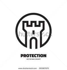 Protection - vector logo concept illustration. Abstract tower of castle illustration. Vector logo template. Design element.