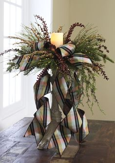 Love this Candle arrangement, would be very easy to make. Cozy Christmas, All Things Christmas, Christmas Holidays, Christmas Wreaths, Christmas Crafts, White Christmas, Candle Arrangements, Christmas Arrangements, Floral Arrangements