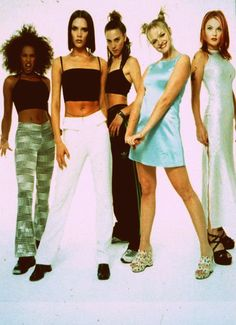 Midriffs, wedges, chunky platforms, satin - I remember when I thought these were the coolest outfits ever!  I actually had sparkly platform sneakers.