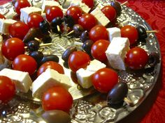 Cherry tomato, feta cheese and olive skewers
