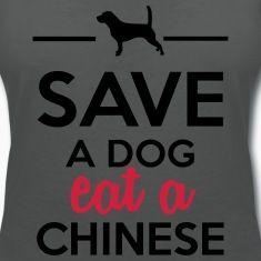 Salle à manger - Enregistrer un chien mange un Chi Tee shirts