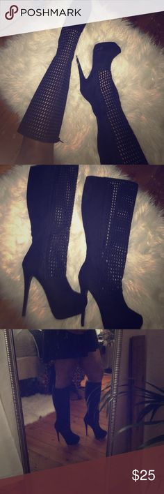 Black Odetta Boots Platform stiletto boots worn once. Sexy and bold 💋😈 JustFab Shoes Heeled Boots
