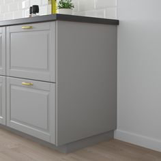 IKEA - BODBYN, Cover panel, gray, Choose a cover panel in the same finish as your door for a uniform expression, or mix and match to suit your taste. Read about the terms in the Limited Warranty brochure. Modern Grey Kitchen, Grey Kitchen Designs, Grey Kitchens, Ikea Bodbyn, Bodbyn Grey, Kitchen Storage, Kitchen Decor, Ikea Kitchen, Kitchen Ideas