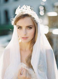 Theodora Crown & English Silk Tulle Veil - Chic Vintage Brides