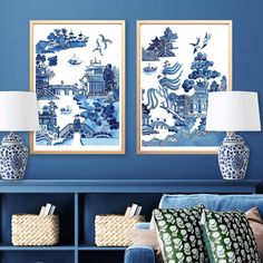 """Michelle Grayson on Instagram: """"A pair of Willow prints looking very elegant together. One print is the traditional Spode Willow print that everyone is familiar with. The…"""" White Art, Blue And White, Chanel Art, White Prints, Ginger Jars, Chinoiserie, Tapestry, Traditional, Elegant"""
