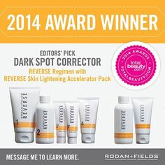 Editors' Pick Winner: Rodan and Fields Reverse Regimen Why: This four-step regimen takes commitment, but it seriously wipes out dark spots and other sun damage! Message me at jjaull.myranf@gmail.com https://jjaull.myrandf.biz