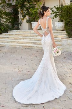 Beautiful Embroidered Trumpet Wedding Dress / Bridal Gown with V-Neck Cut, Open Back and a Train by Kitty Chen Couture Wedding Dress Sizes, Sexy Wedding Dresses, Cheap Wedding Dress, Bridal Dresses, Wedding Gowns, Wedding Bride, Wedding Shoes, Unconventional Wedding Dress, Amazing Wedding Dress