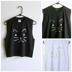 Custom Cat Shirt Muscle Tee Grunge Clothing Crop Top or Regular Length on Etsy, Sold