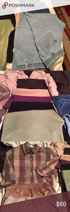 Complete new wardrobe! BUNDLE of 7 pair of like new dress pants, 2 pairs of jeans, 1 shirt and 3 pairs of shorts.  Most are from Christopher & Banks and J.C. Penney's. Pants