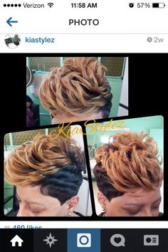 Two-toned short cut Dope Hairstyles, Short Black Hairstyles, Short Hair Cuts, Short Hair Styles, Pixie Cuts, Short Pixie, Haircut Short, Beautiful Hairstyles, Pixie Haircut