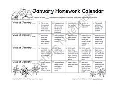 January Homework Calendar from Fun A Day on TeachersNotebook.com -  (1 page)  - January homework calendar for preschool.