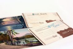 using postcards of your destination as reply cards