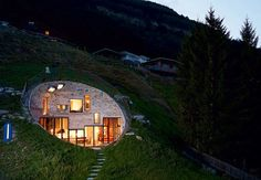 The Villa Vals in Switzerland offer a very unique place to stay. The rental is integrated into the landscape with only one side of the villa showing. Earthship, Amazing Architecture, Architecture Design, Landscape Architecture, Therme Vals, Earth Sheltered Homes, Underground Homes, Unusual Homes, Earth Homes