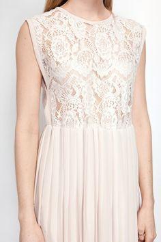 Beige lace top pleated dress