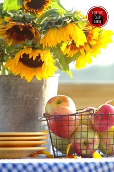 Sunflowers and fresh apples tablescape - you had mentioned the possibility of…