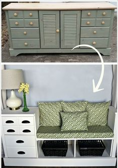 The best way to save your budget by buying new furniture is doing some makeovers to your old furniture. Sometimes, your old furniture can be changed into something which is useful for your home. Diy Furniture Redo, Old Furniture, Repurposed Furniture, Unique Furniture, Living Room Furniture, Painted Furniture, Furniture Ideas, Hallway Furniture, Smart Furniture