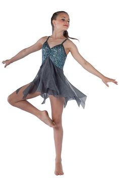 15482 Supernova | Lyrical Contemporary Dance Costumes | Dansco 2015 | Grey sequin on spandex and solid spandex short unitard with attached glitter printed grey mesh spiral skirt. Grey spandex binding straps and trim.