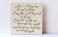 Child Prayer Wood Sign, Now I Lay Me Down To Sleep, Nursery Decor, Wall Art for Nursery, Child Room Decor, Family Decor, Typography Sign