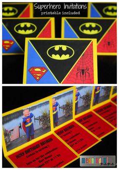 Superhero Invitations   Free Printable Included